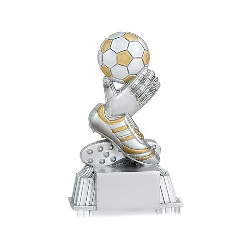 Trophée foot argent et or gant de gardien et ballon spécial foot - 11cm.