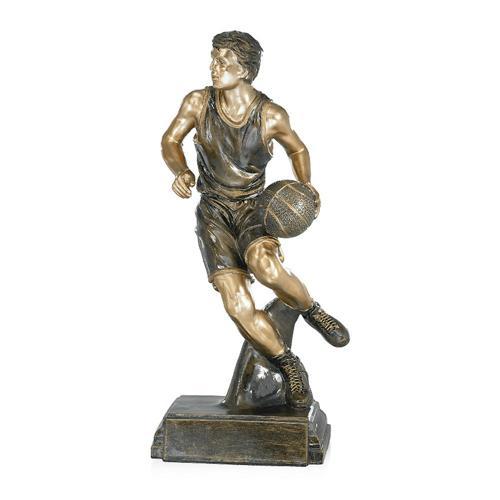 Trophée basket cuivrée résine - 40cm.