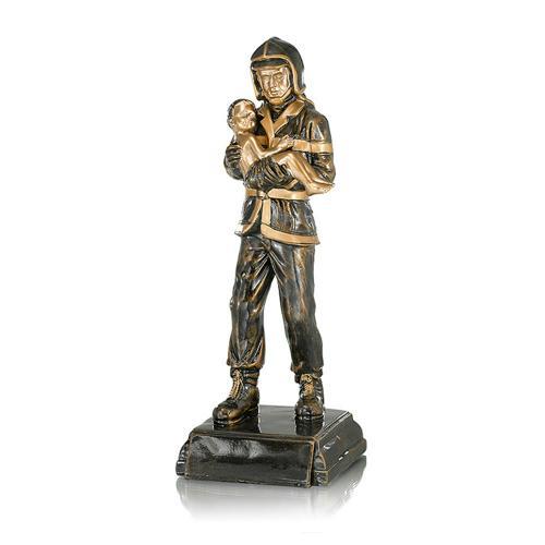 Trophée pompier cuivrée résine - 41cm.