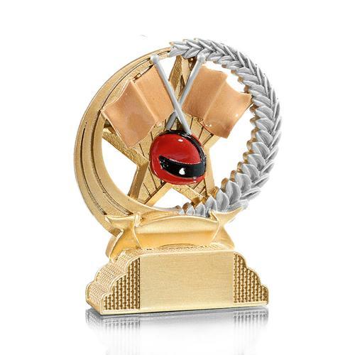 Trophée moto or - casque résine - 13cm.