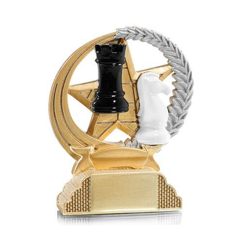 Trophée échecs or - résine 13cm.