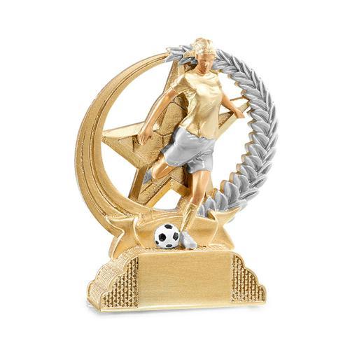 Trophée foot féminin or résine - 13cm.