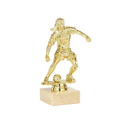 Trophée foot or - joueuse spécial foot - 18cm.