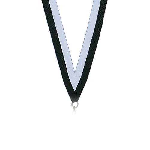 Ruban médaille blanc et noir 22mm.