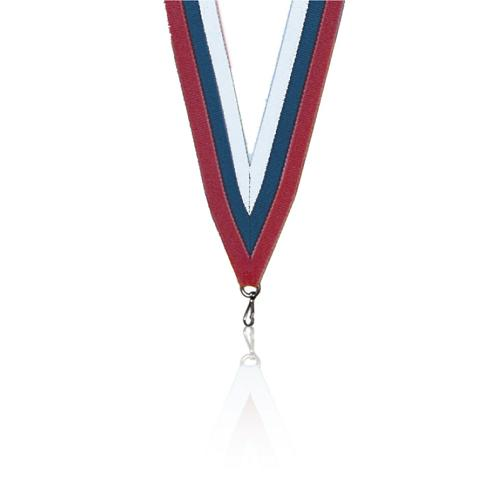 Ruban médaille blanc bleu et rouge - 22mm.