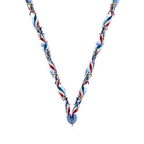 Ruban médaille bleu et blanc avec logo de course - 22mm.