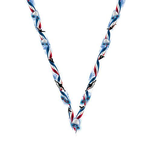 Ruban médaille bleu et blanc avec logo de natation - 22mm.