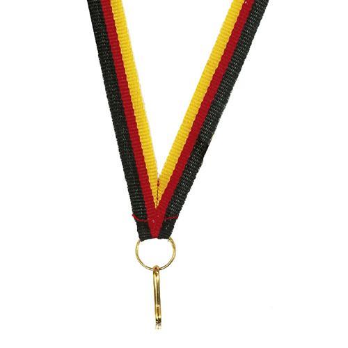 Ruban médaille jaune rouge et noir - 10mm.
