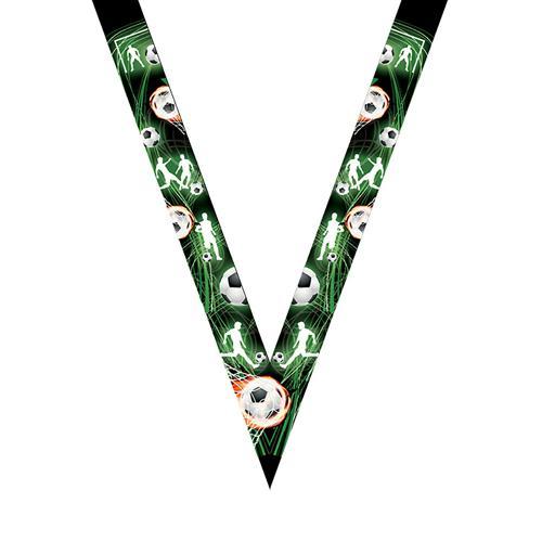 Ruban médaille noir et vert avec logo de foot - 30mm.