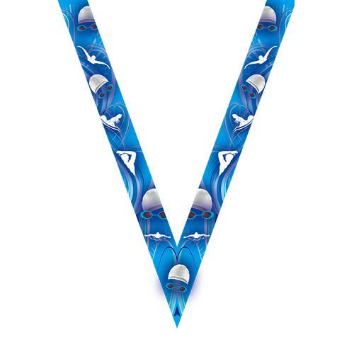 Ruban médaille bleu avec logo de natation - 30mm.