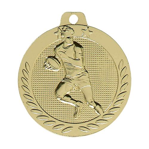 Médaille rugby or - 40mm.