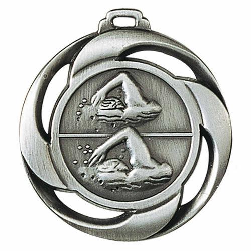 Médaille natation argent - 40mm.