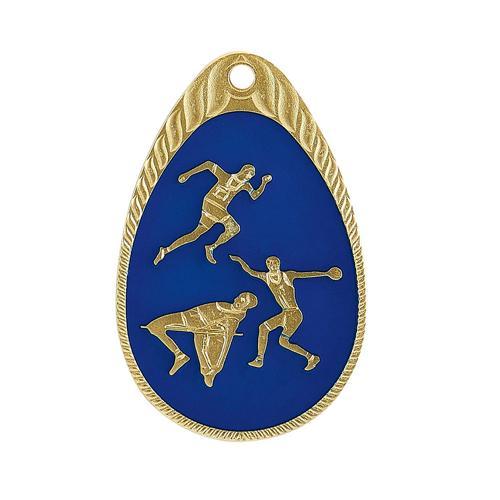 Médaille athlétisme bleu et or - émaillée - 45mm.