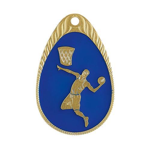 Médaille basket bleu et or émaillée - 45mm.
