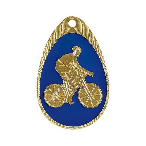 Médaille cyclisme bleu et or émaillée - 45mm.