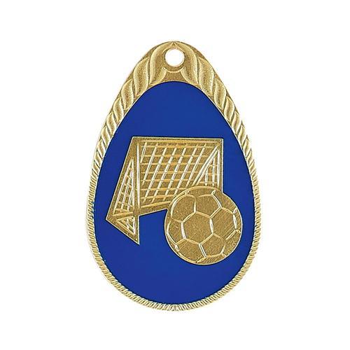 Médaille foot bleu et or émaillée - 45mm.