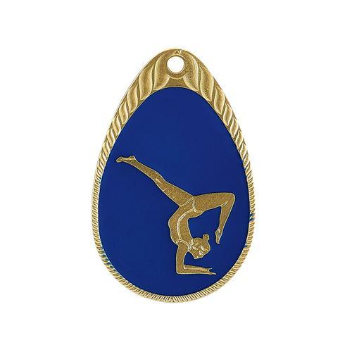 Médaille gym bleu et or émaillée - 45mm.