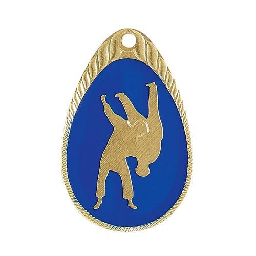 Médaille judo bleu et or émaillée - 45mm.