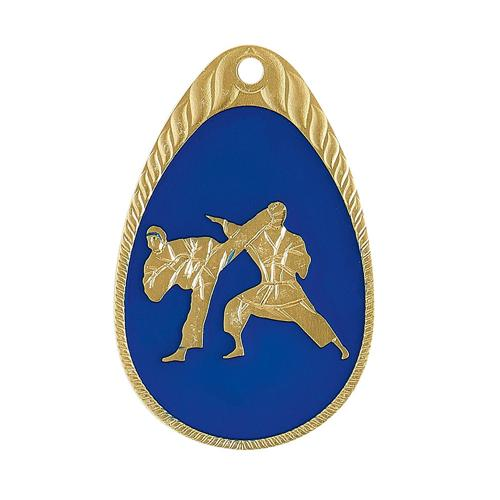 Médaille karaté bleu et or émaillée - 45mm.