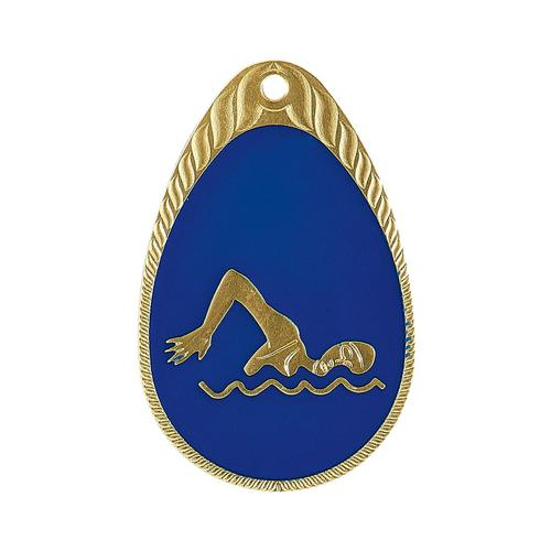 Médaille natation bleu et or émaillée - 45mm.