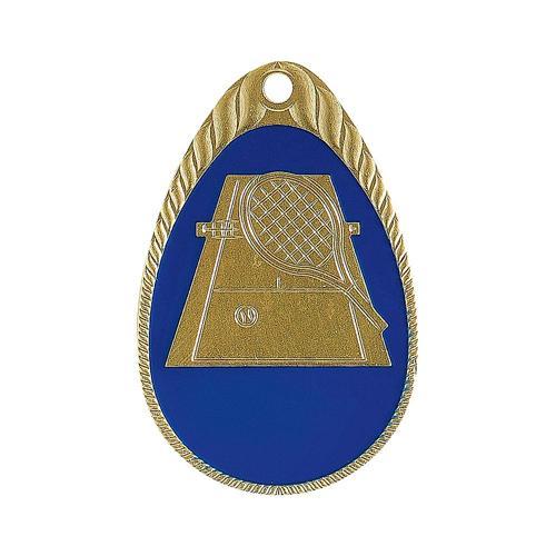 Médaille tennis bleu et or émaillée - 45mm.