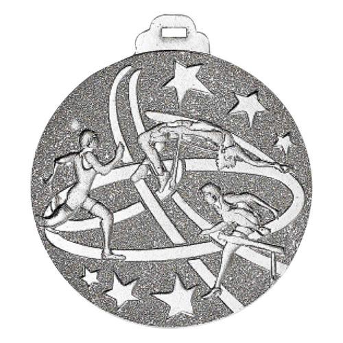 Médaille athlétisme argent métal massif - 50mm.