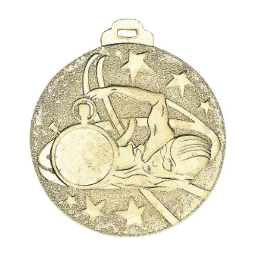 Médaille natation or - métal massif - 50mm.