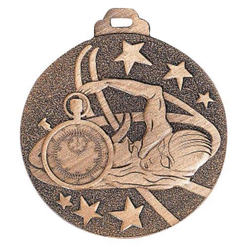 Médaille natation bronze métal massif - 50mm.