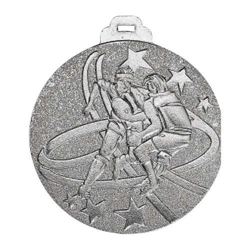 Médaille rugby argent - métal massif - 50mm.