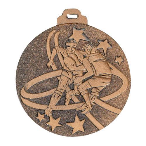 Médaille rugby bronze - métal massif - 50mm.