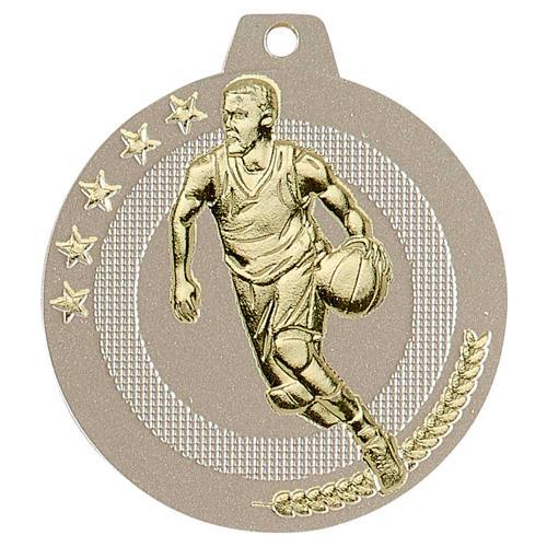 Médaille basket sable et or highlight - 50mm.