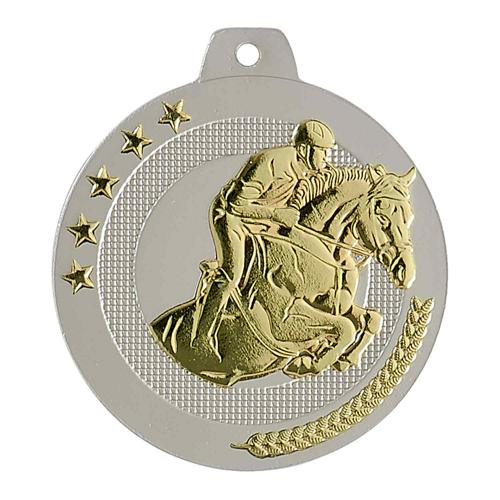 Médaille équitation sable et or - highlight - 50mm.
