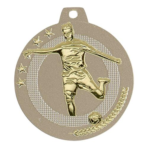 Médaille foot sable et or highlight - 50mm.