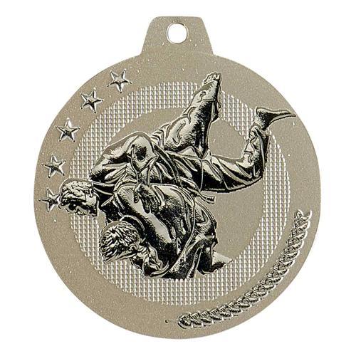 Médaille karaté sable et argent - highlight - 50mm.