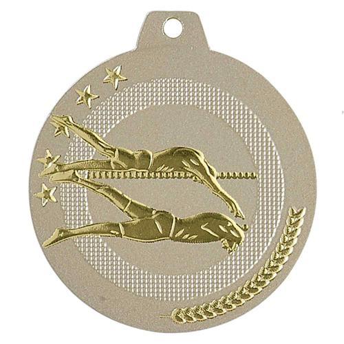 Médaille natation sable et or - highlight - 50mm.