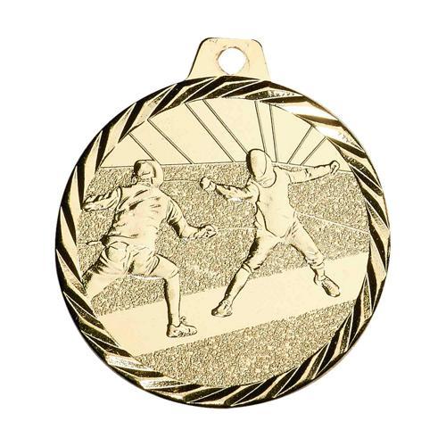 Médaille escrime or - 50mm.