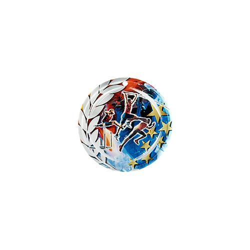 Médaille athlétisme bleu et rouge avec étoiles et couronne laurier - céramique et ruban bleu inclus - 70mm.