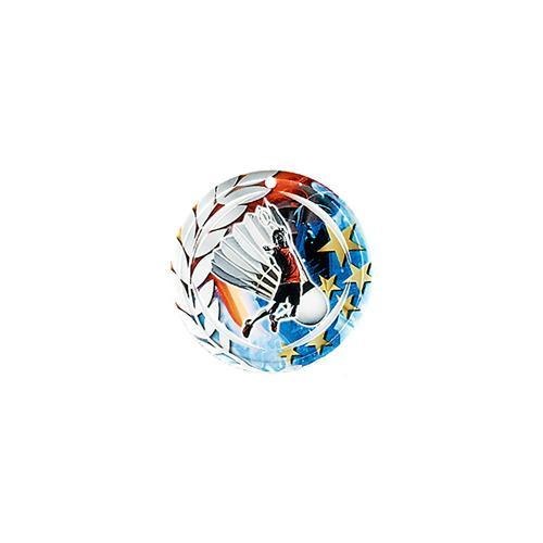 Médaille badminton bleu et rouge avec étoiles et couronne laurier - céramique et ruban bleu inclus - 70mm.
