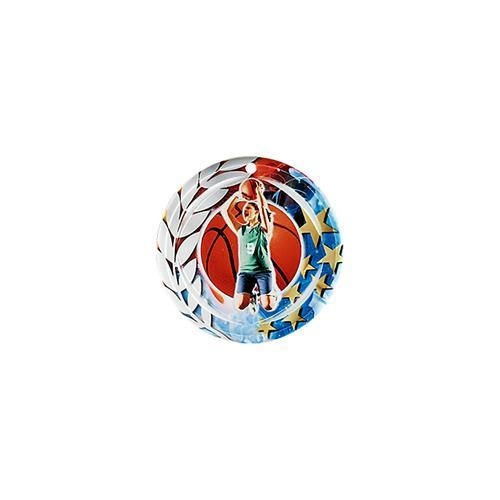Médaille basket bleu et rouge avec étoiles et couronne laurier - céramique et ruban bleu inclus - 70mm.