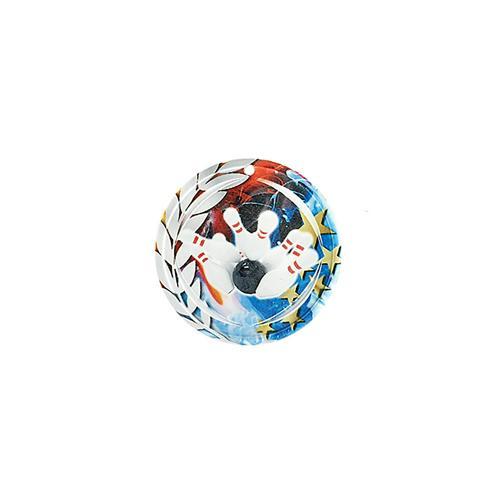 Médaille bowling bleu et rouge avec étoiles et couronne laurier - céramique et ruban bleu inclus - 70mm.