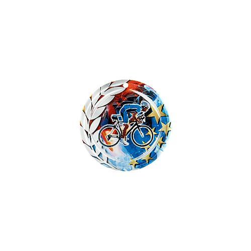 Médaille cyclisme bleu et rouge avec étoiles et couronne laurier - céramique et ruban bleu inclus - 70mm.
