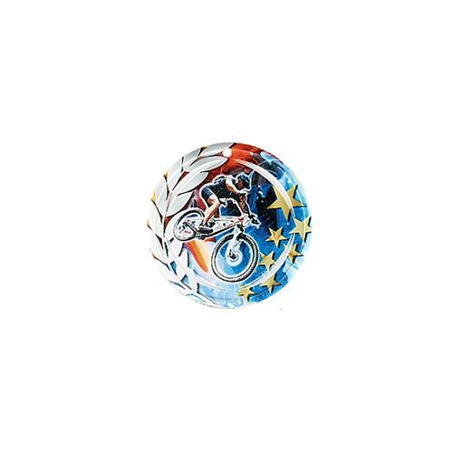 Médaille VTT bleu et rouge avec étoiles et couronne laurier - céramique et ruban bleu inclus - 70mm.