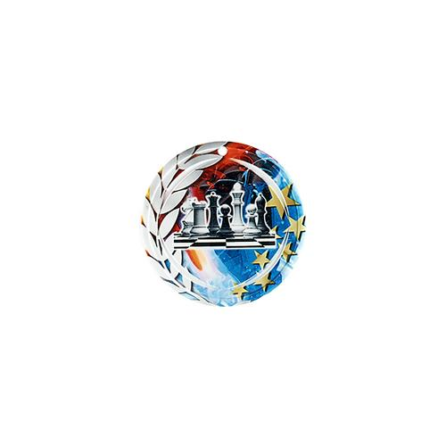 Médaille échecs bleu et rouge avec étoiles et couronne laurier - céramique et ruban bleu inclus - 70mm.