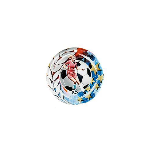 Médaille foot féminin bleu et rouge avec étoiles et couronne laurier - céramique et ruban bleu inclus - 70mm.