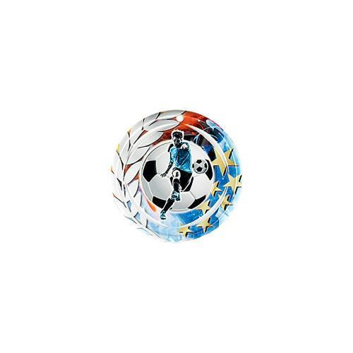 Médaille foot bleu et rouge avec étoiles et couronne laurier - céramique et ruban bleu inclus - 70mm.