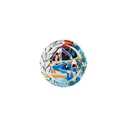Médaille gym bleu et rouge avec étoiles et couronne laurier - céramique et ruban bleu inclus - 70mm.