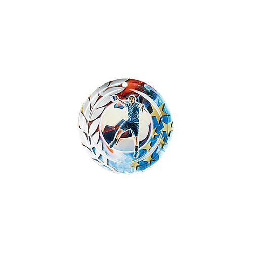 Médaille hand bleu et rouge avec étoiles et couronne laurier - céramique et ruban bleu inclus - 70mm.
