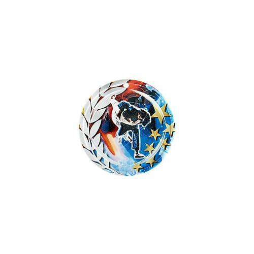 Médaille judo bleu et rouge avec étoiles et couronne laurier - céramique et ruban bleu inclus - 70mm.