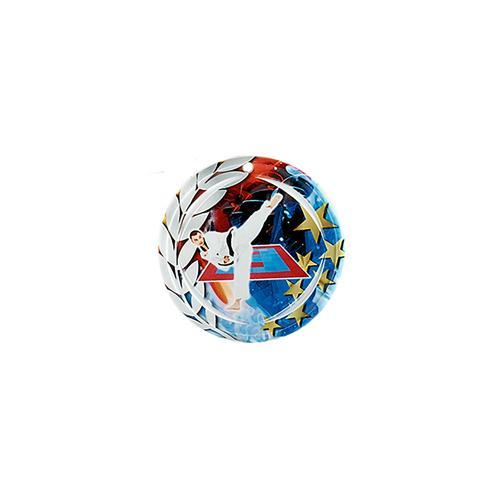 Médaille karaté bleu et rouge avec étoiles et couronne laurier - céramique et ruban bleu inclus - 70mm.