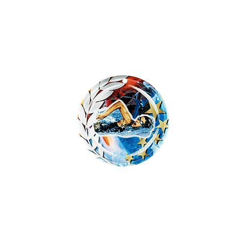 Médaille natation bleu et rouge avec étoiles et couronne laurier - céramique et ruban bleu inclus - 70mm.